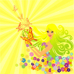 flower fairy with butterflies, vector illustration