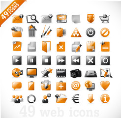 new set of 49 most popular icons on the web 2 / orange