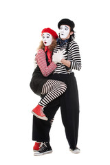 scared couple of mimes