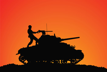 Silhouette of a soldier on the tank