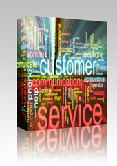 Customer service word cloud glowing box package