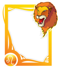 Leo, the fifth sign of the zodiac frames, vector