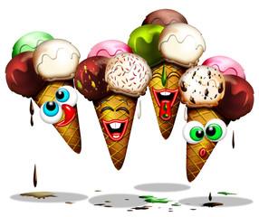 Canvas Prints Draw Cono Gelato-Ice Cream-Glace-Cartoon
