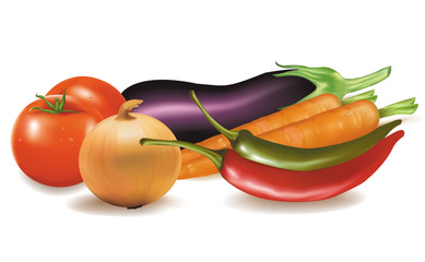 Photo-realistic vector. The big colorful group of vegetables.