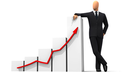 businessman, graphiques statistiques Wall mural