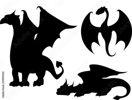 Quot Dragon Silhouettes Quot Stock Image And Royalty Free Vector