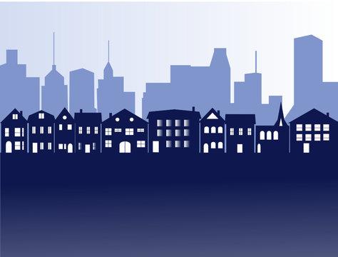 Banlieue suburbaine avec building en arrière plan