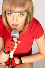 beautiful girl with  microphone