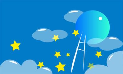 蔚蓝色的夜空