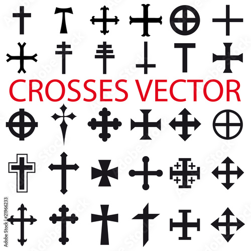 set crosses vector various religious symbols im genes. Black Bedroom Furniture Sets. Home Design Ideas