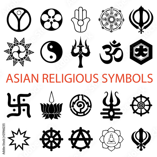 Vector Various Religious Symbols Asian Stock Image And Royalty