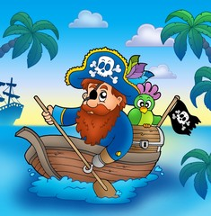 Poster Pirates Cartoon pirate paddling in boat