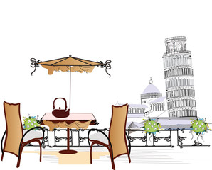 Poster de jardin Drawn Street cafe open-air cafe in Pisa