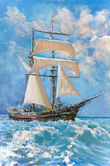 Drawing of boat is under sail, painting