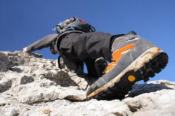 Climbing on a rock