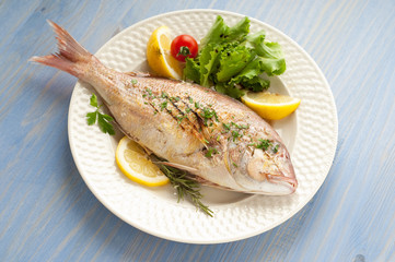 grilled red snapper with salad on dish