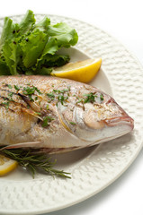 grilled red snapper with salad