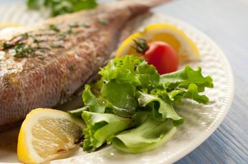 salad and fish on dish selective focus on salad