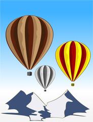 flying varicolored balloons in blue sky