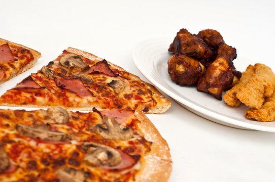 sliced mushroom and ham hawaiian pizza