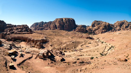 Petra panorama with temple in the distance