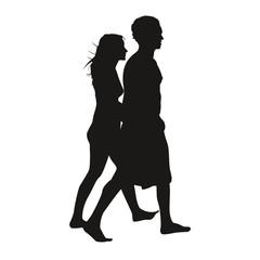 Silhouette couple en ballade