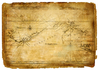 ancient  torn map - vintage background