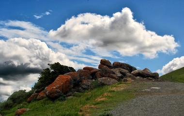 Cloudy mountain top rocks
