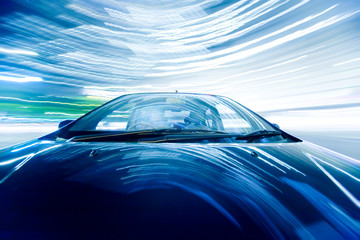 Wall Mural - The car moves at great speed at the night.