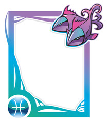 Pisces, the twelfth sign of the zodiac frames, vector