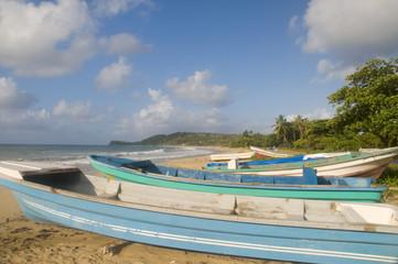 native fishing boats  desolate beach long bag corn island nicara