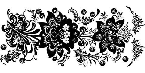 black horizontal stripe with two flowers