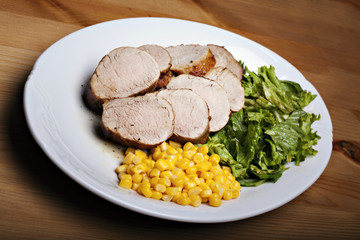 Grilled meat with vegetable