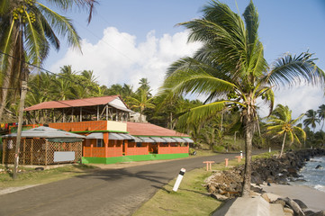 colorful restaurant by the caribbean sea corn island nicaragua