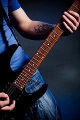 man playing rock