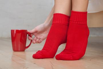 Legs of young woman wearing socks