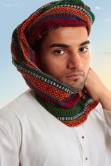 Arab Man in traditional turban keffiyeh
