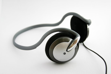 Isolated wired headphones detail.