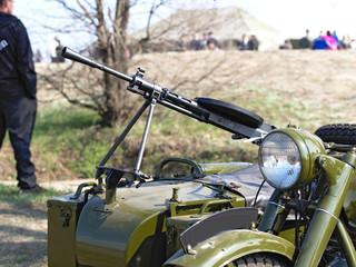 Degtyaryov's manual machine gun established on a motorcycle