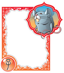 Rat or mouse, the first sign of the Chinese zodiac, vector