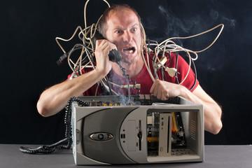 man computer problem