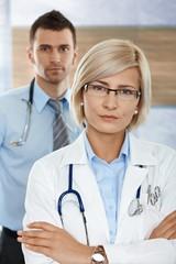 Female doctor on hospital corridor