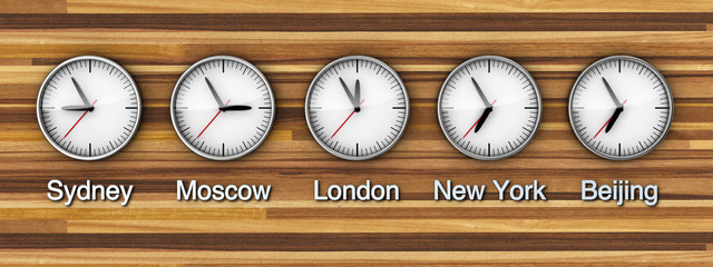 Timezone clock on wooden wall