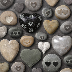Heart shaped stones and rocks