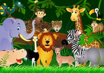 Photo sur Aluminium Zoo Wild animal cartoon