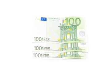 Euro banknotes isolated on a white background..