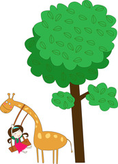 Giraffe and girl play with under the tree