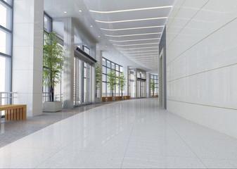 futuristic corridor modern office. 3D render