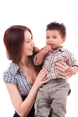 1 year old baby boy with mother isolated white