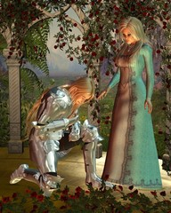 Spoed Fotobehang Ridders Sir Launcelot and Queen Guinevere